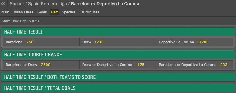 Barcelona vs Deportivo 1H on BET 365