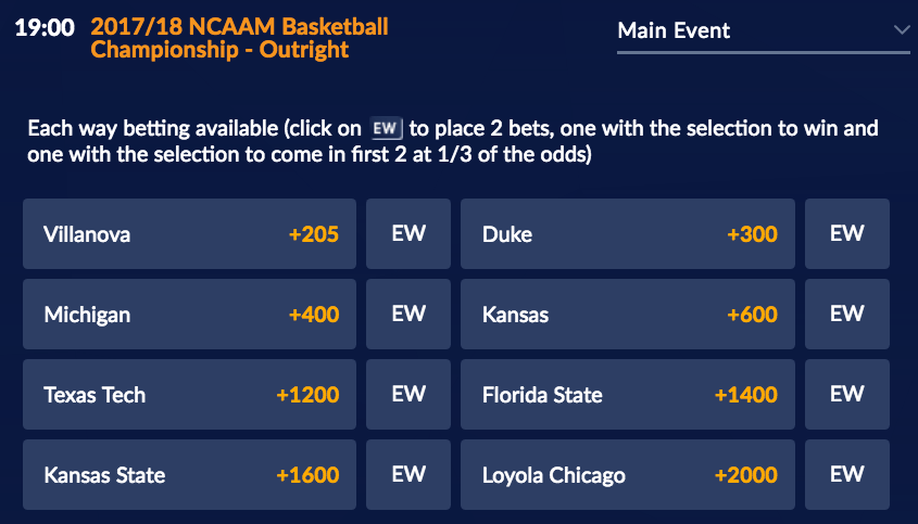 Elite Eight March Madness Each Way Odds